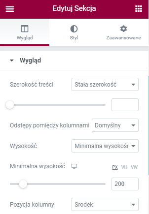 pozycja elementor wordpress